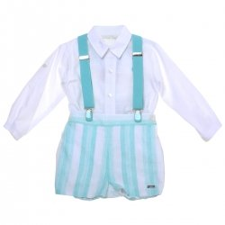 Dolce Petit 2018 Spring Summer Baby Boys White Shirt Aqua Blue Stripes Braces Shorts Set