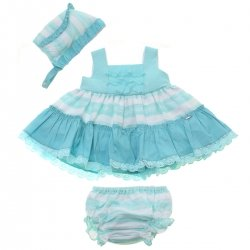 Dolce Petit 2018 Spring Summer Baby Girls Aqua Blue White Stripes Dress Bonnet Panty Set
