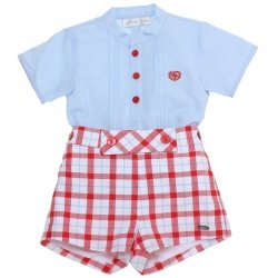 Dolce Petit 2018 Spring Summer Baby Boys Blue Shirt Red Gingham Shorts Set