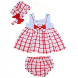Dolce Petit 2018 Spring Summer Baby Girls Blue White Red Gingham Dress Panty Bonnet Set