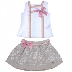 Dolce Petit Spring Summer Girls White Top Dark Beige Floral Skirt Pink Bows Set