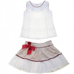 Dolce Petit 2018 Spring Summer Girls White Blue Polka Dots Top Tan Skirt Set