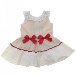 Dolce Petit 2018 Spring Summer Girls Tan And White Dress Red Bows