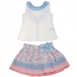 Dolce Petit Spring Summer Girls White Top Blue Lace Pink Floral Skirt Set