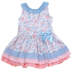 Dolce Petit 2018 Spring Summer Girls Pink Blue Floral Dress Blue Lace Blue Bow