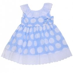 Dolce Petit 2018 Spring Summer Girls Blue White Polka Dots Dress White Frills