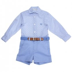 Dolce Petit 2018 Spring Summer Boys Blue Shirt Blue Shorts Blue Belt Set
