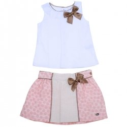 Dolce Petit Spring Summer Girls White Top Pink Polka Dots Skirt Set Choco Bows