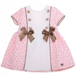 Dolce Petit 2018 Spring Summer Girls Pink White Polka Dots Dress Choco Bows
