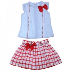 Dolce Petit 2018 Spring Summer Girls Blue Top Red Gingham Skirt Set