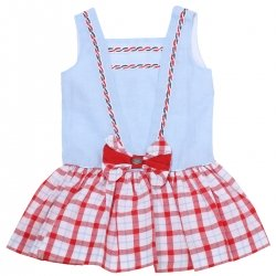 Dolce Petit 2018 Spring Summer Girls Blue Red Gingham Skirt Red Bows