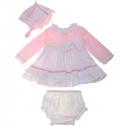Dolce Petit Baby Girls Pink White Dress Set With Bonnet And Panty