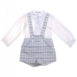 Dolce Petit Baby Boys White Shirt Blue Checks Braces Shorts Braces Set