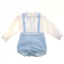 Dolce Petit Baby Boys Ivory Shirt Blue Braces Shorts Set