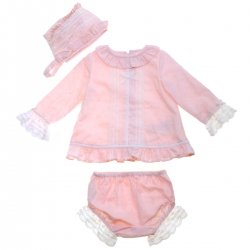 Dolce Petit Baby Girls Pink Long Top With Bonnet And Panty Outfit