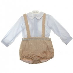 Dolce Petit Baby Boys Blue Shirt Tan Braces Shorts Set