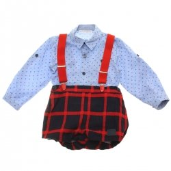 Dolce Petit Baby Boys Blue Shirt Navy Red Checks Shorts Braces Set