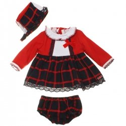 Dolce Petit Baby Girls Red Navy Checks Dress Bonnet Panty Set