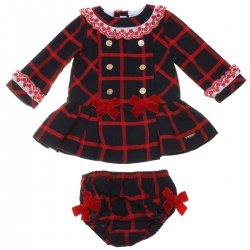 Dolce Petit Baby Girls Red Navy Checks Gold Buttons Dress Panty Set