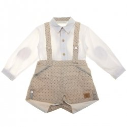 Dolce Petit Baby Boys Off White Shirt Tan Braces Shorts Set