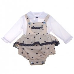 Dolce Petit Baby Girls White Blouse Tan Dungarees Panty Set