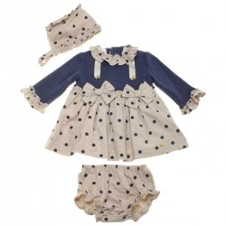 Dolce Petit Baby Girls Navy Tan Polka Dots Dress Bonnet Panty Set