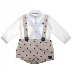 Dolce Petit Baby Boys White Shirt Tan Colour Navy Polka Dots Braces Shorts Set