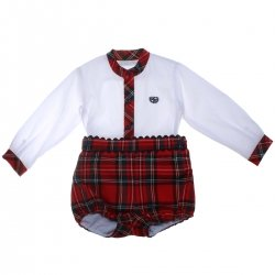 Dolce Petit Baby Boys White Shirt Red Tartan Shorts Outfit
