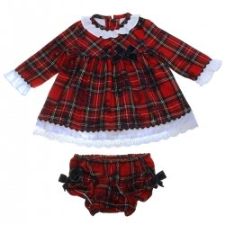 Dolce Petit Baby Girls Red Tartan Dress Panty Set
