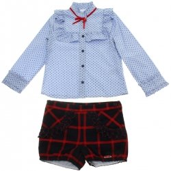 Dolce Petit Girls Blue Blouse Navy Red Checks Shorts Set 3 Years To 12 Years