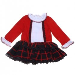 Dolce Petit Girls Red Navy Checks Dress White Frills Navy Lace