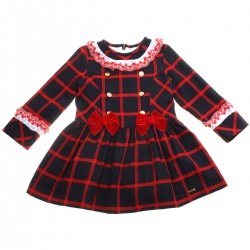 Dolce Petit Girls Navy Red Dress Red Bow White Red Embroidered Collar