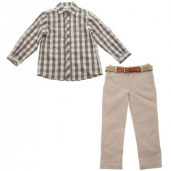 Dolce Petit Boys Grey Beige Shirt Khaki Trousers Belt Set