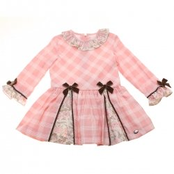 Dolce Petit Girls Pink Check Dress Chocco Bows Floral Frilly Collar