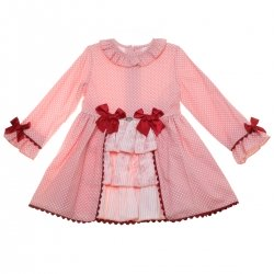 Dolce Petit Girls Pink Polka Dots Dress Red Bow Red Lace