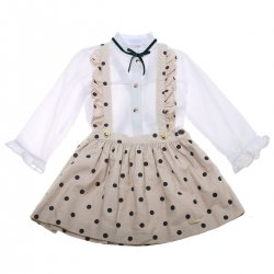 Dolce Petit Girls White Blouse Tan Navy Polka Dots Pinafore Skirt Set