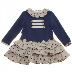 Dolce Petit Girls Tan Navy Polka Dots Ruffled Dress