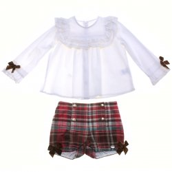 Dolce Petit Girls White Blouse Red Tartan Shorts Set  Brown Bows 3 Years To 12 Years