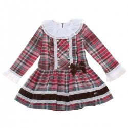Dolce Petit Girls Red Brown Tartan Dress Silver Buttons White Lace