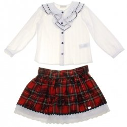 Dolce Petit Girls White Blouse Red Tartan Skirt Outfit 3 Years To 12 Years