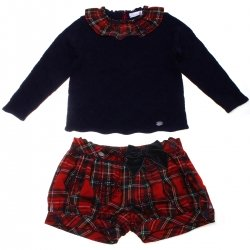 Dolce Petit Girls Navy Knitted Top Red Tartan Shorts Set 3 Years To 12 Years