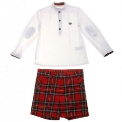 Dolce Petit Boys Traditional White Shirt Red Tartan Shorts Set