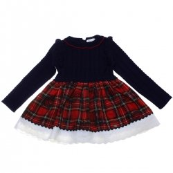 Dolce Petit Girls Navy Knitted Red Tartan Dress