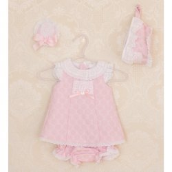 Dolce Petit Spring Summer Baby Girls Pink Dress Bonnet Panty Set