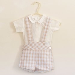 Dolce Petit Baby Boys Ivory Shirt Light Brown Gingham Braces Shorts Set