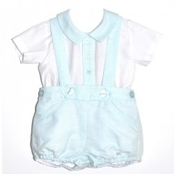 Dolce Petit Baby Boys White Shirt Aqua Green Blue Braces Shorts Set
