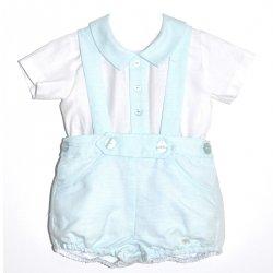3cd80da9c7835 Dolce Petit Baby Boys White Shirt Aqua Green Blue Braces Shorts Set