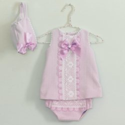Dolce Petit Spring Summer Baby Girls Pink Dress White Frills Pink Bow Bonnet Panty Set