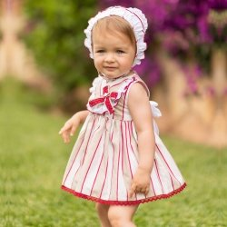 Dolce Petit Baby Girls White Caramel Stripes Dress Bonnet Panty Set