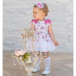 44f8e8874 Dolce Petit Baby Girls White Floral Dress Panty Set
